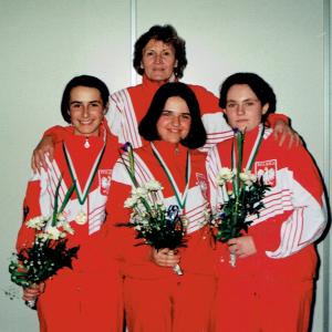Brązowe medalistki ME (1998). Od lewej Sylwia Bogacka, Agata Hatalska, Grażyna Jabłońska. Fot. Archiwum prywatne Grażyny Jabłońskiej